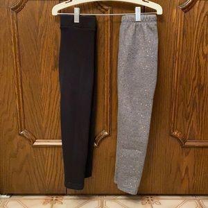 2 Pairs cozy fleece lined girls leggings size 6/7